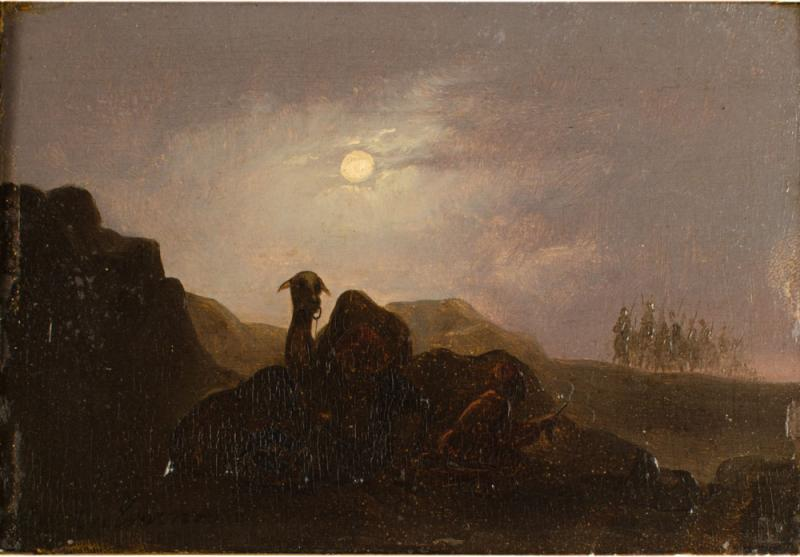 Johann Mongels Culverhouse Johann Mongels Culverhouse Dutch 1820 1891 Camel in Full Moon painting