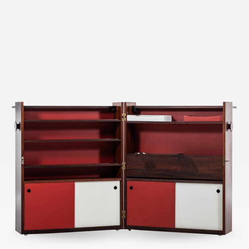 Johannes Andersen Folding Bar Cabinet Produced by Dyrlund