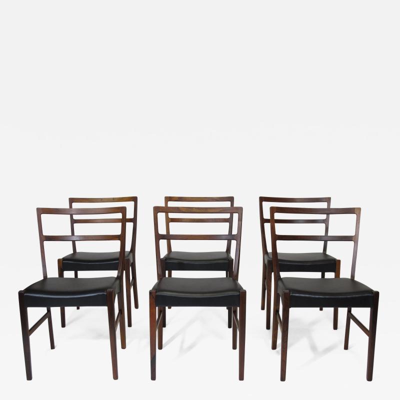 Johannes Andersen Johannes Andersen for Bernhard Pedersen Sons Rosewood Dining Chairs Set of 8