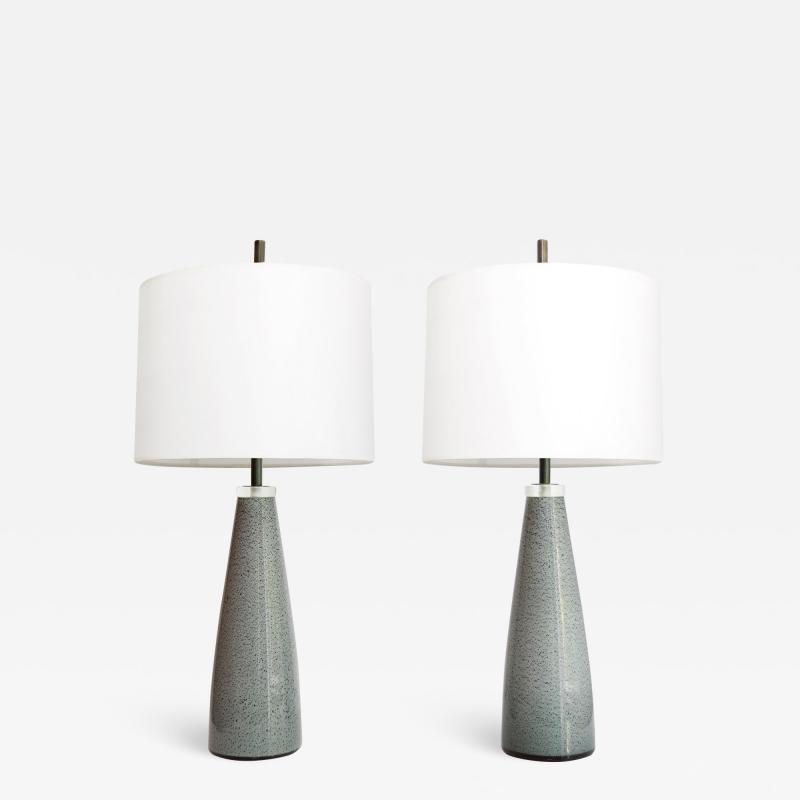 Johansfors Glasbruk PAIR OF JOHANSFORS GLASBRUK SPECKLED GLASS LAMPS SWEDEN