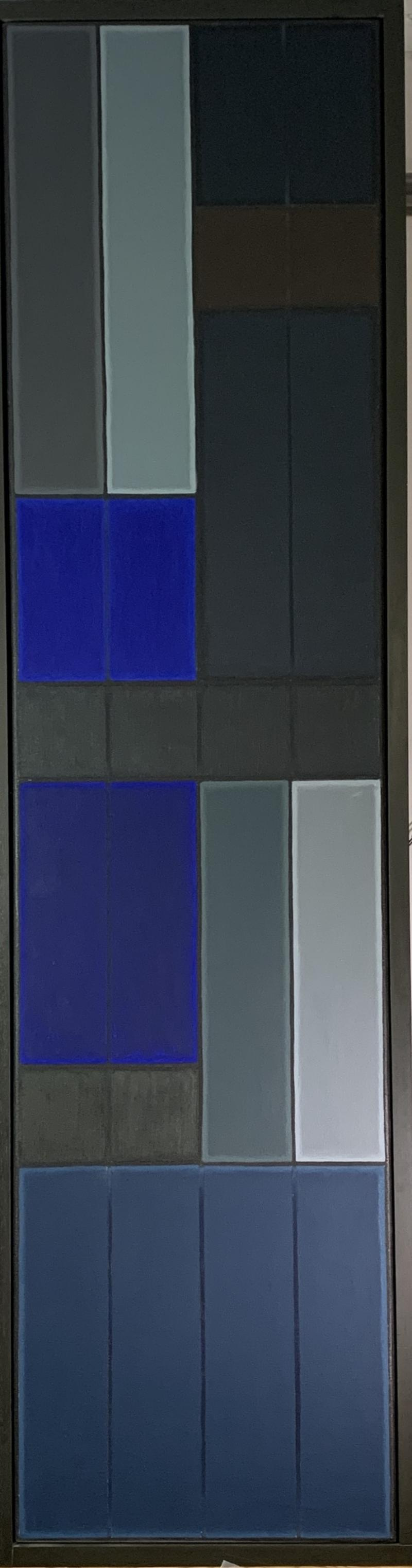 John Hopwood Untitled Blue Abstract Number 1 Geometric Oil Painting