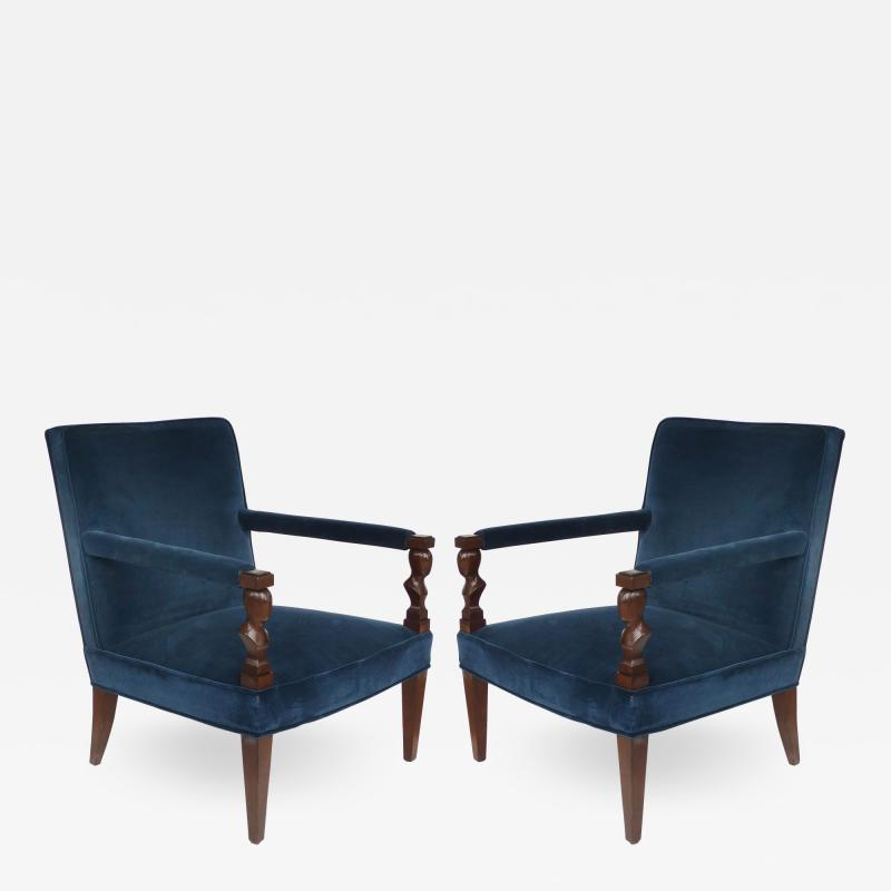 John Hutton John Hutton Donghia Rushmore Newly Upholstered Armchairs Pair