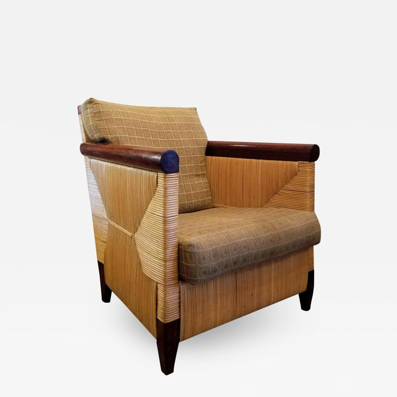 John Hutton Lounge Chair by John Hutton Donghia 1995 Mahogany and Cane