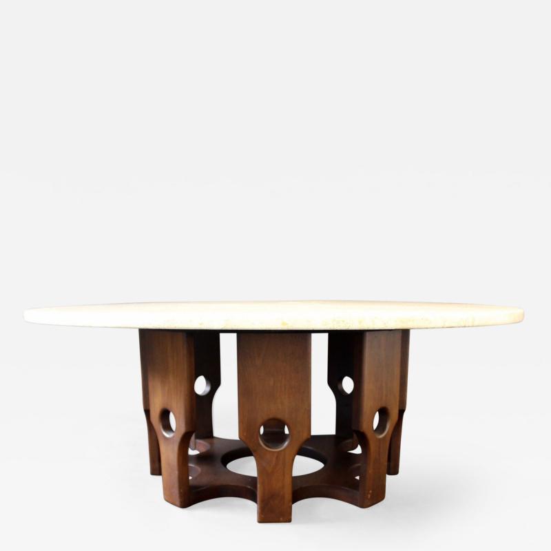 John Keal Mid Century Modern John Keal Wood Base Round Travertine Top  Coffee Table