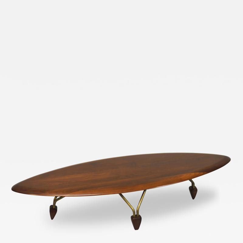 John Keal Vintage Walnut Surfboard Coffee Table By John Keal