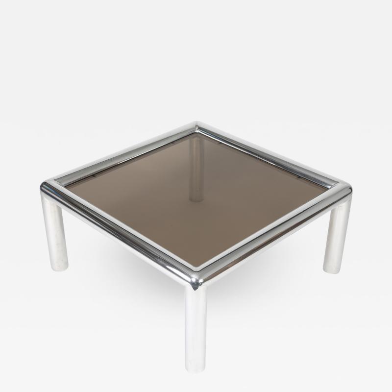 John Mascheroni 1960s John Mascheroni Aluminum and Smoked Glass Tubo Coffee Table