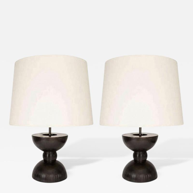 John McDevitt Large Pair of Sculptural Patinated Steel Geometric Form Lamps