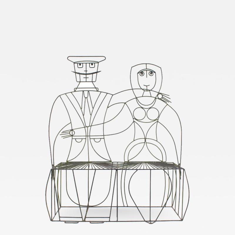 John Risley 1960s John Risley Monsieur Mademoiselle Patio Bench Sculpture