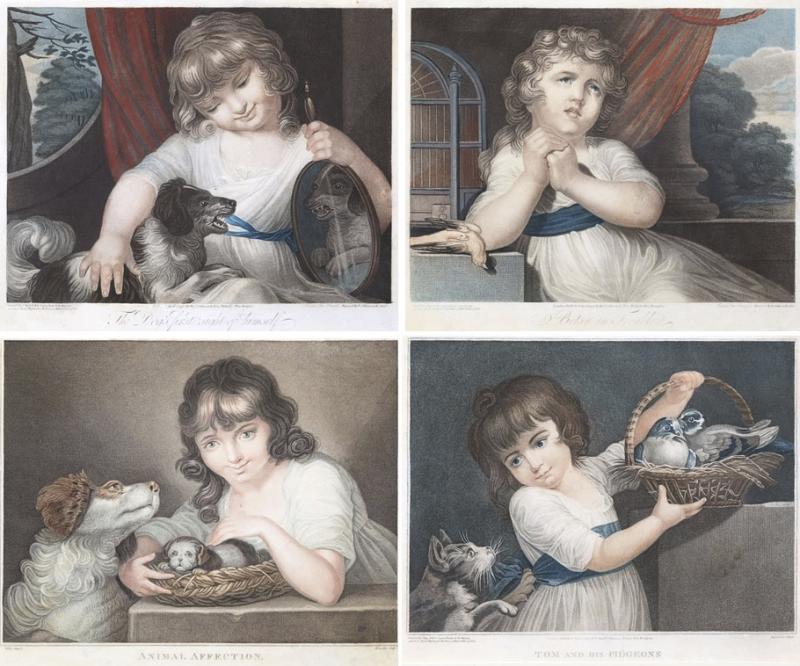 John Russel FOUR 19TH CENTURY STIPPLE ENGRAVINGS IN GILT FRAMES