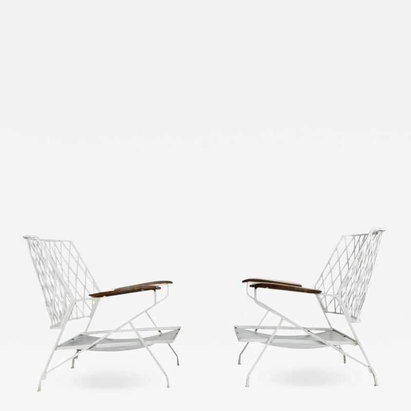 John Salterini 1950s Salterini Iron Lounge Chairs a Pair