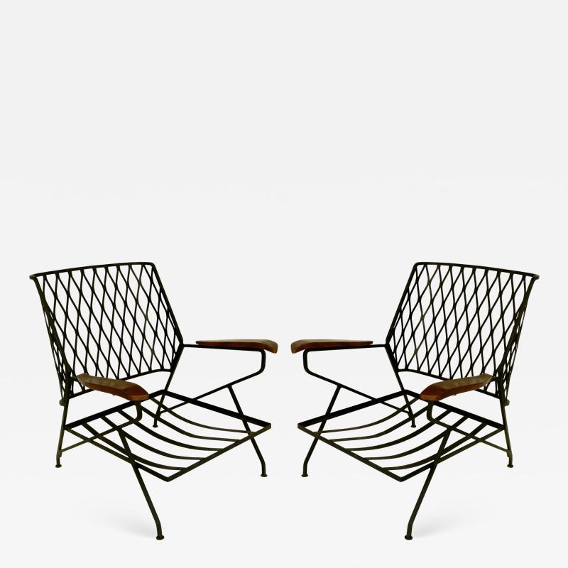John Salterini John S Salterini Wrought Iron Wood Armchairs Salterini Furniture of NY