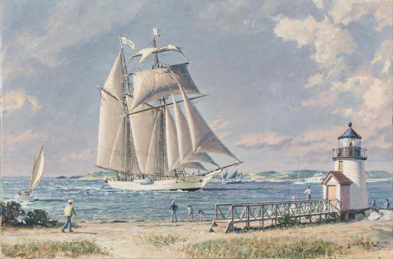 John Stobart Nantucket Arrival Shenandoah Off Brant Point