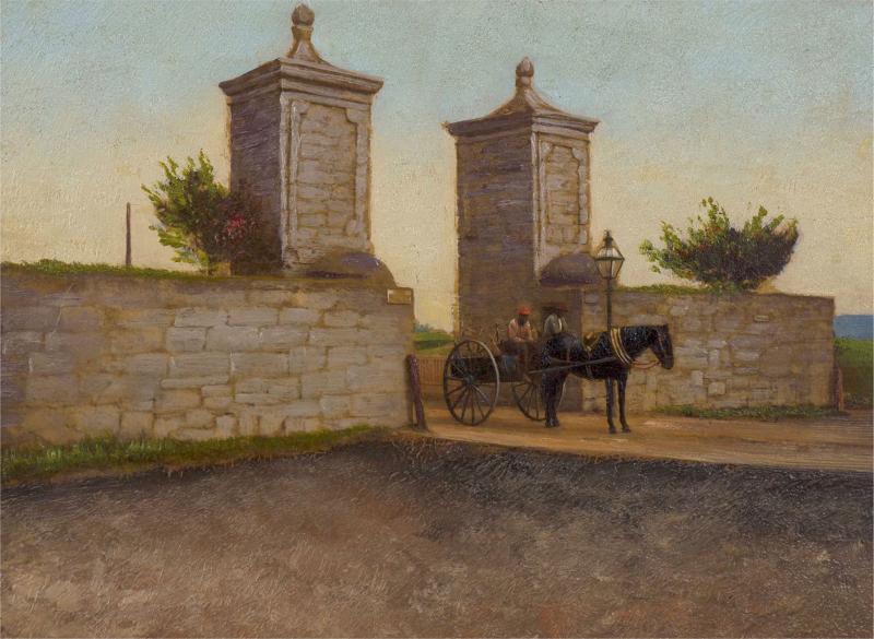 John Stoddard The City Gate St Augustine FL 1893 Antique Oil Painting by John Stoddard