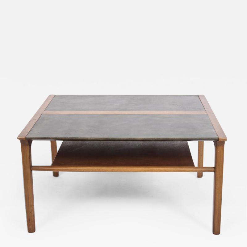 John Van Koert John Van Koert Leather Wrapped Oak Two Tier Coffee Table