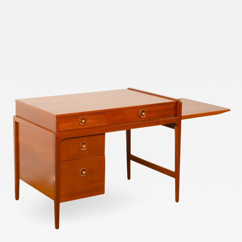 John Van Koert Mid Century walnut desk w side extension designed by John Van Koert for Drexel