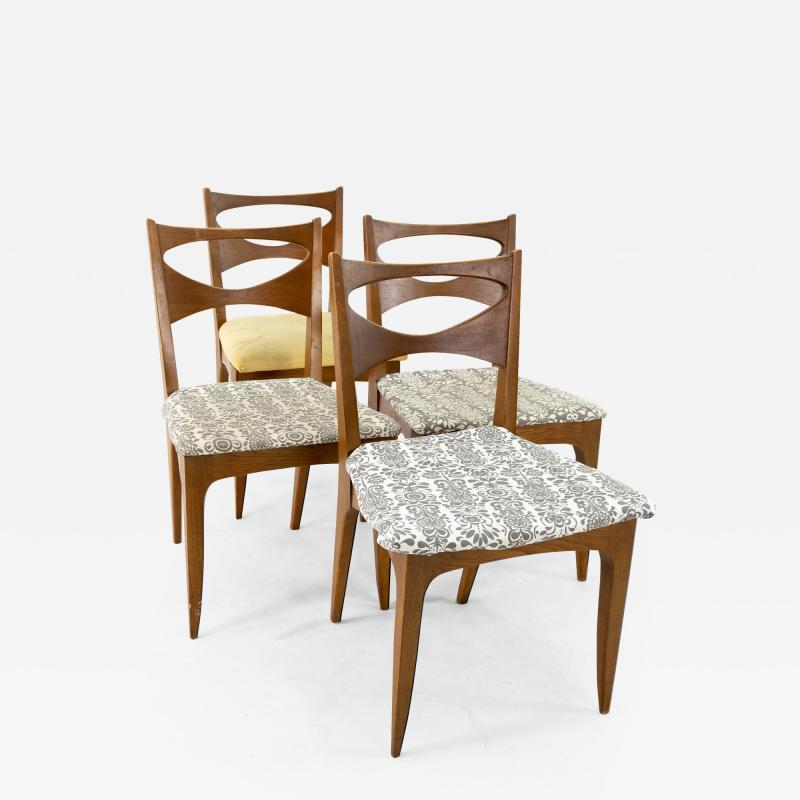 John Van Koert for Drexel Profile Mid Century Walnut Dining Chairs Set of 4