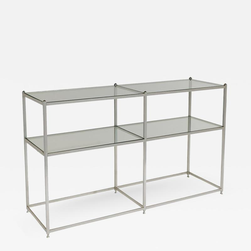 John Vesey Aluminum and Brass Console Table with Shelves John Vesey