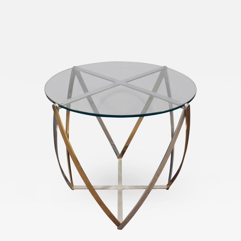 John Vesey John Vesey Brass and Brushed Aluminum End Table 1970s
