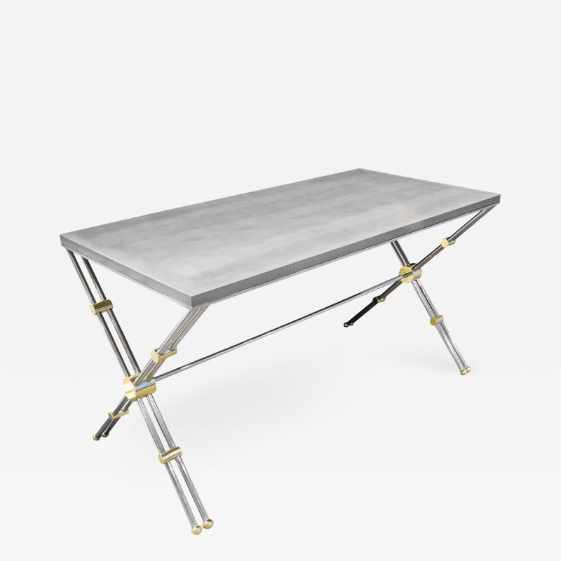 John Vesey John Vesey Desk in Stainless Steel and Brass with Embossed Leather Top 1970s