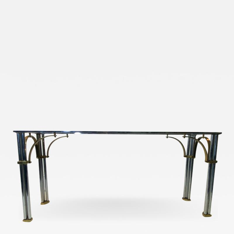 John Vesey MODERNIST1970S CHROME AND BRASS CONSOLE IN THE MANNER OF JOHN VESEY