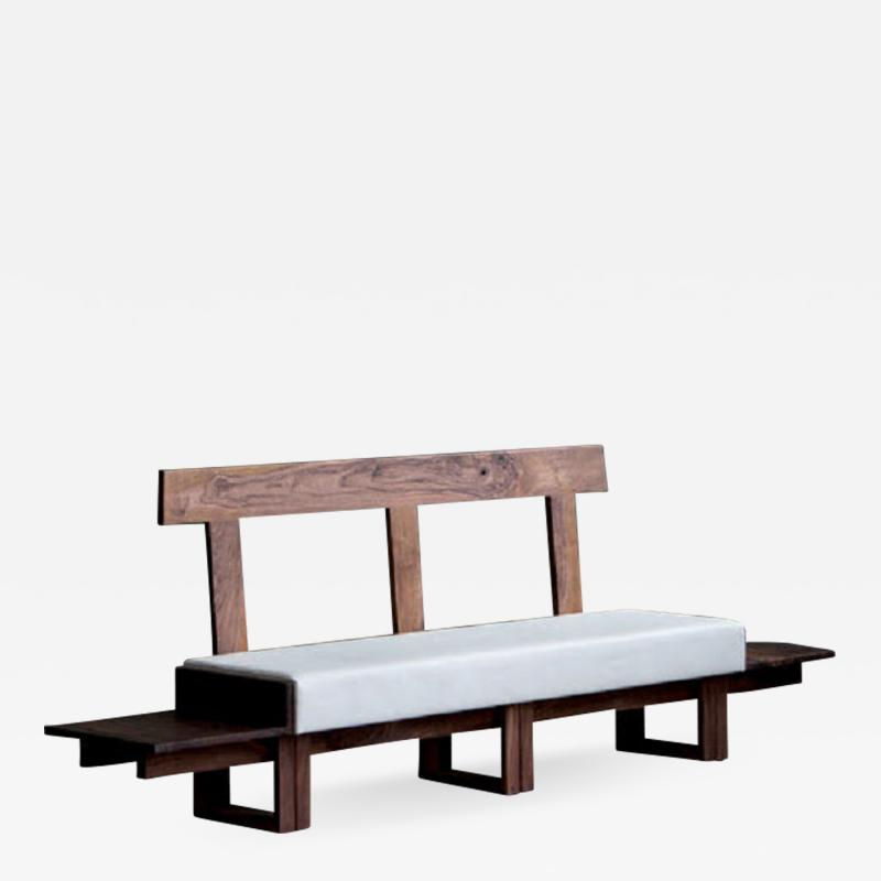 Jonathan Field Low Bench of Solid English and American Walnut