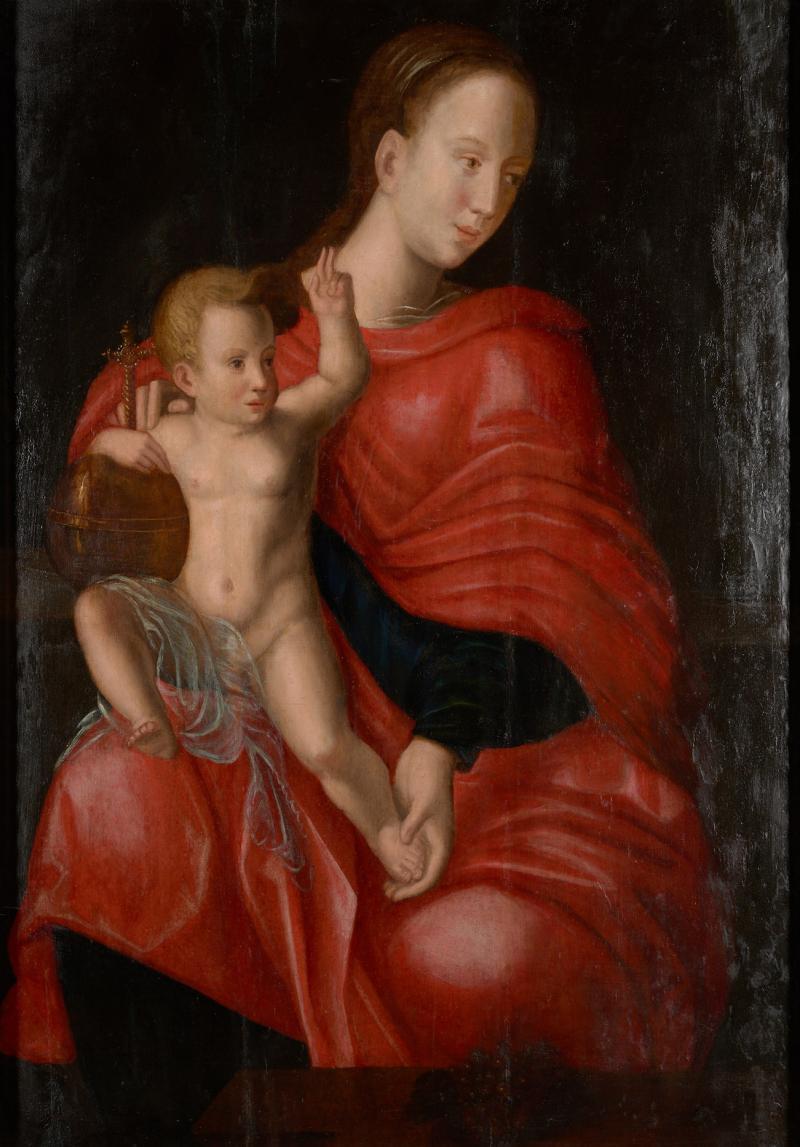Joos van Cleve 16th C Biblical Manner of Joos van Cleve Madonna with Child Oil on Panel
