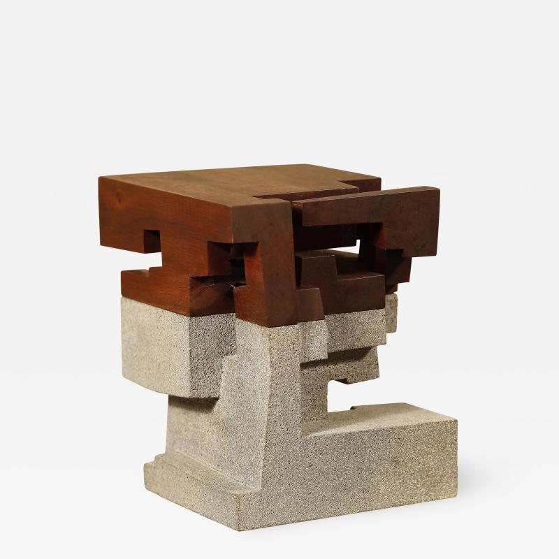 Jorge Y zpik Untitled Sculpture wood and volcanic stone