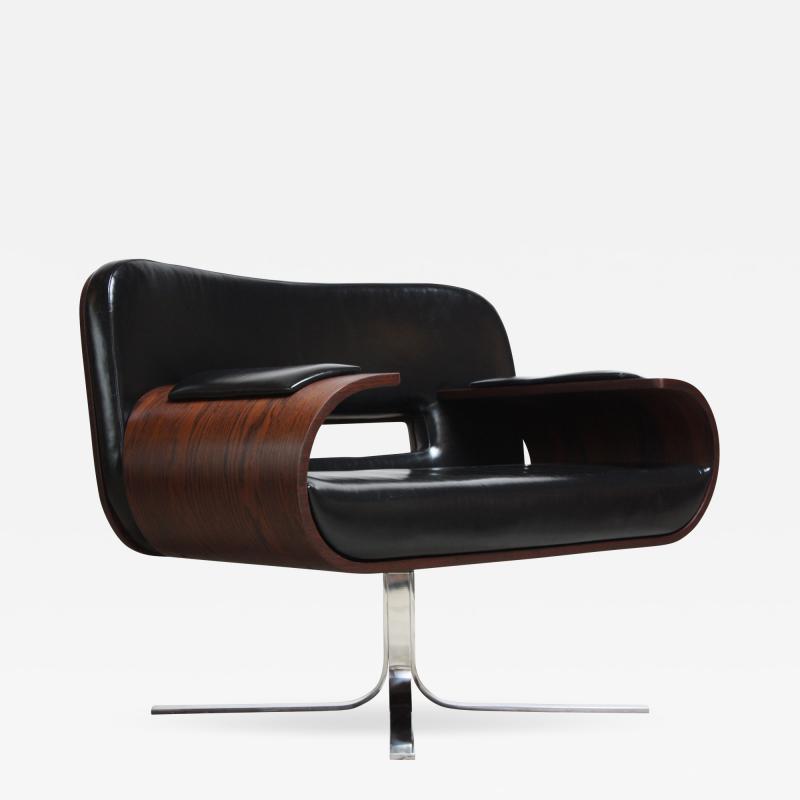 Jorge Zalszupin Brazilian Modern Jacaranda and Leather Swiveling Lounge Chair by Jorge Zalszupin