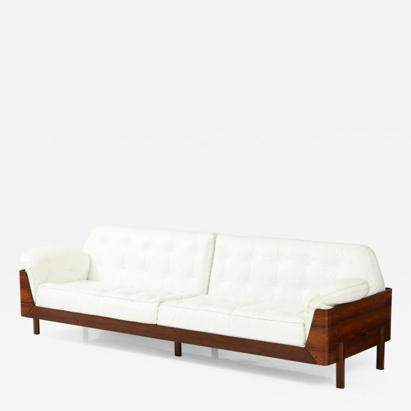 Jorge Zalszupin Brazilian Sofa in Jacaranda and White Leather
