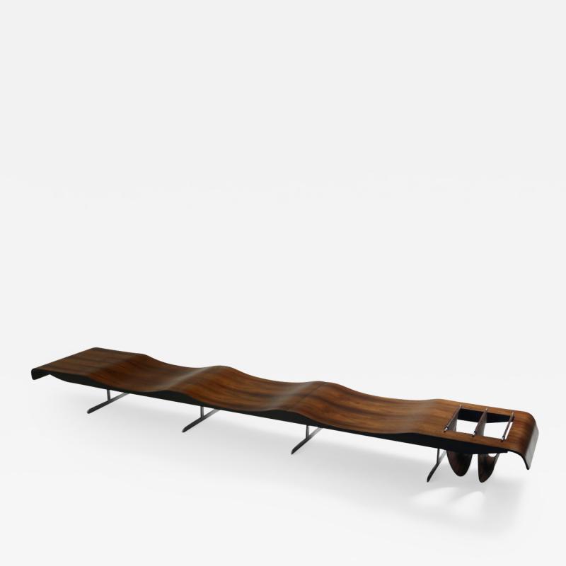 Jorge Zalszupin Mid Century Modern Onda Wave Bench by Jorge Zalszupin Brazil 1960s
