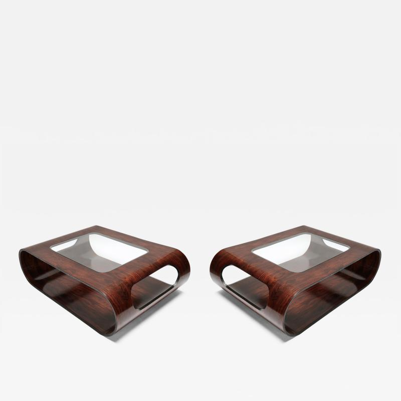 Jorge Zalszupin Pair of 1960s Zalszupin Style Brazilian Jacaranda Coffee Tables with Glass Top