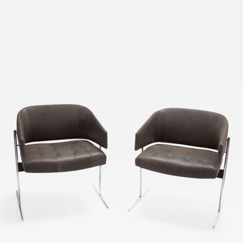 Jorge Zalszupin Pair of Grey Senior Armchairs by Jorge Zalszupin in Soft Leather Brazil 1960