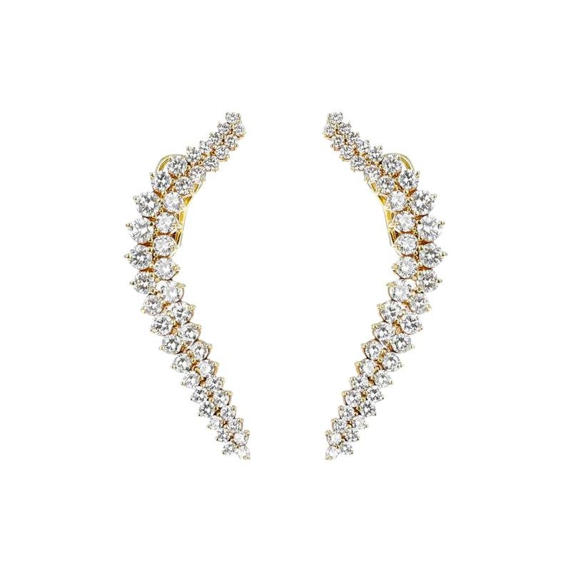 Jose Hess CURVY COCKTAIL DANGLING CLIP ON EARRINGS WITH ROUND DIAMONDS BY JOSE HESS