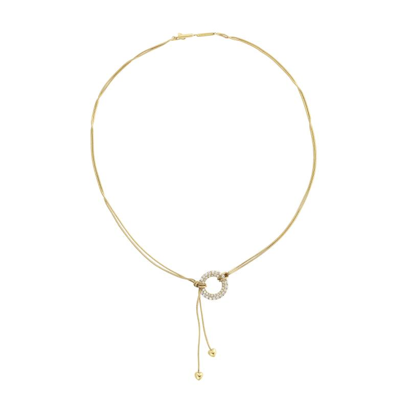 Jose Hess Gold Necklace with Love Knot Hearts and Diamond Circle