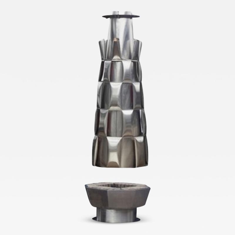 Josef Ciesla Stainless steel central fireplace from Josef Ciesla France 1970