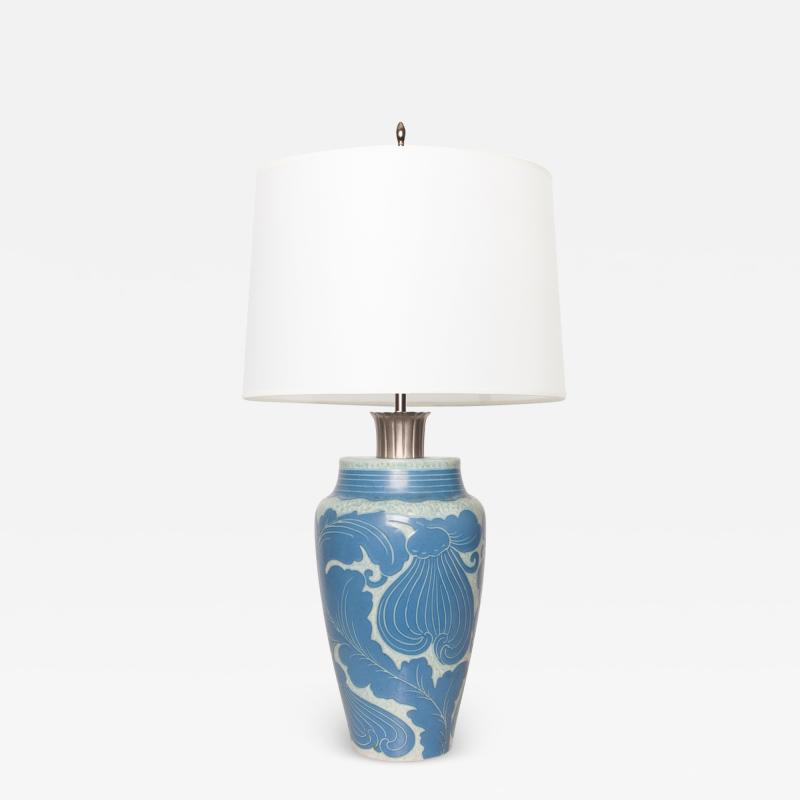 Josef Ekberg Swedish Art Deco JOSEF EKBERG LAMP WITH LEAF MOTIF AND NICKEL STEM