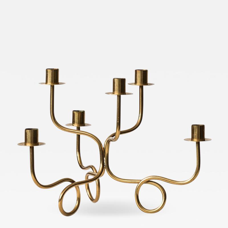 Josef Frank Josef Frank Candlestick in Brass by Svenskt Tenn in Sweden
