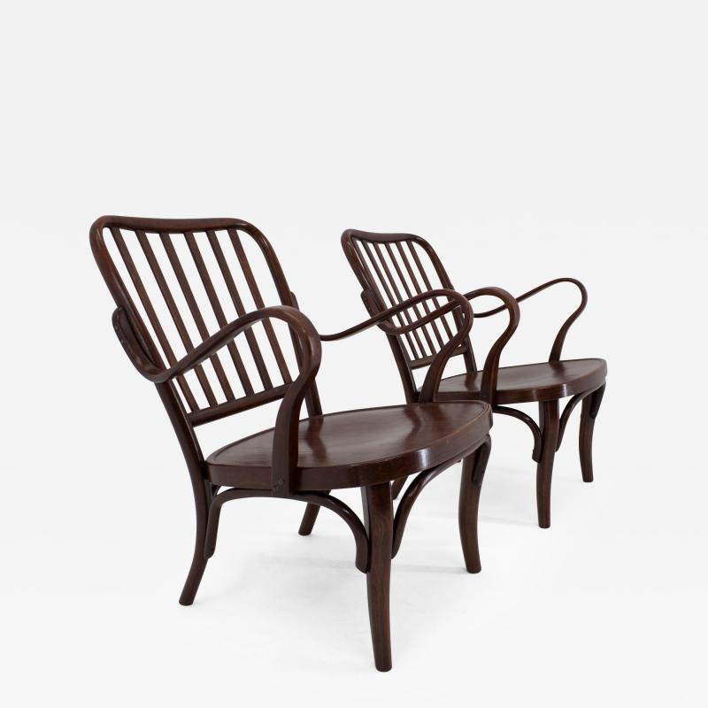 Josef Frank Set of Two Armchairs No 752 by Josef Frank for Thonet 1930s