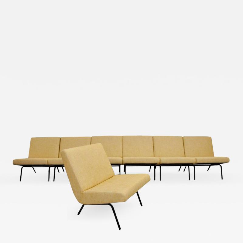 Joseph Andr Motte Set of Seven Joseph Andre Motte Slipper Chairs 743 for Steiner France 1950s