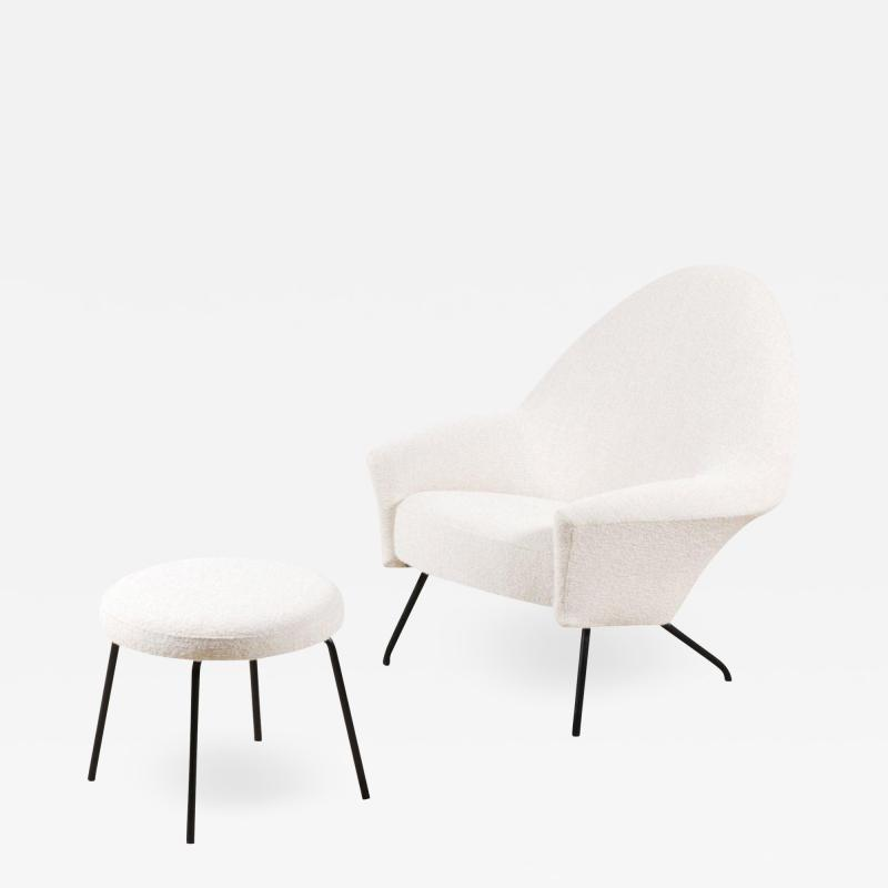 Joseph Andre Motte 770 Armchair and Ottoman for Steiner France 1950s