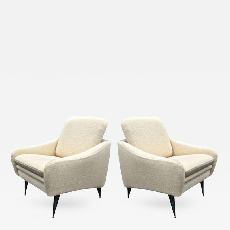 Joseph Andre Motte J A Motte for Steiner Lounge Chairs Newly Recovered In Alpaca Wool