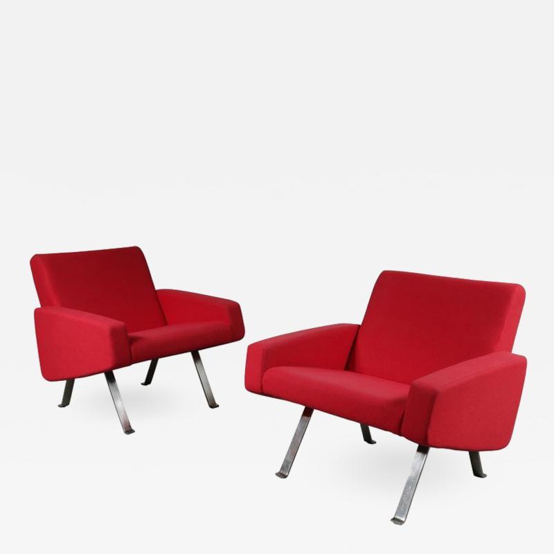 Joseph Andrews Pair of Joseph Andre Motte Lounge Chairs for Artifort Netherlands 1965