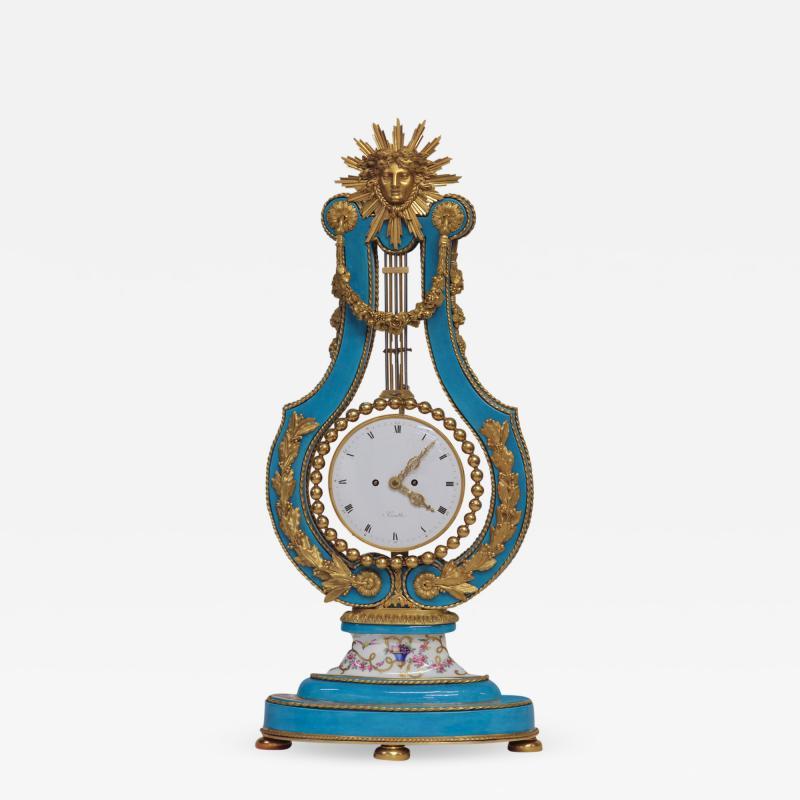 Joseph Dieudonn Kinable c 1820 Very Rare Ormolu and bleu turquoise Porcelain Lyre Clock