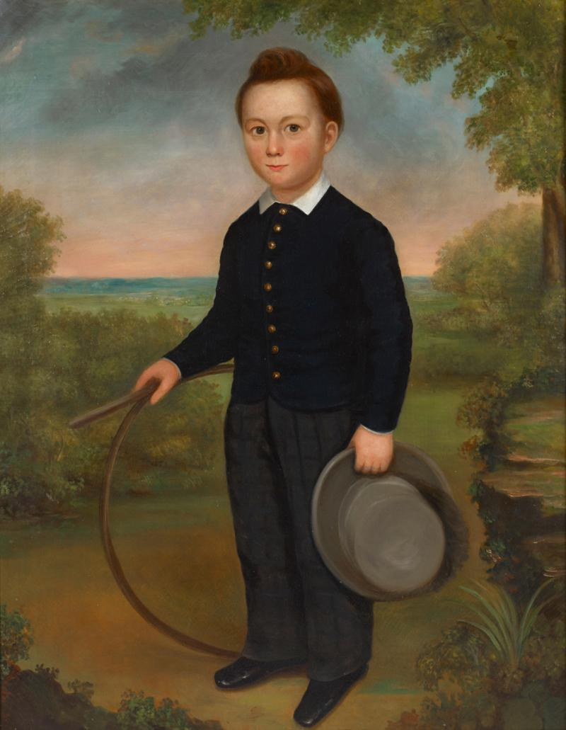 Joseph Goodhue Chandler Portrait of a Young Boy Holding a Hoop and a Hat