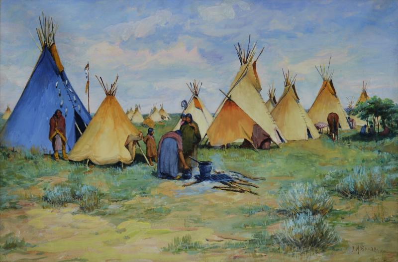 Joseph Henry Sharp Camp with Blue Tepee