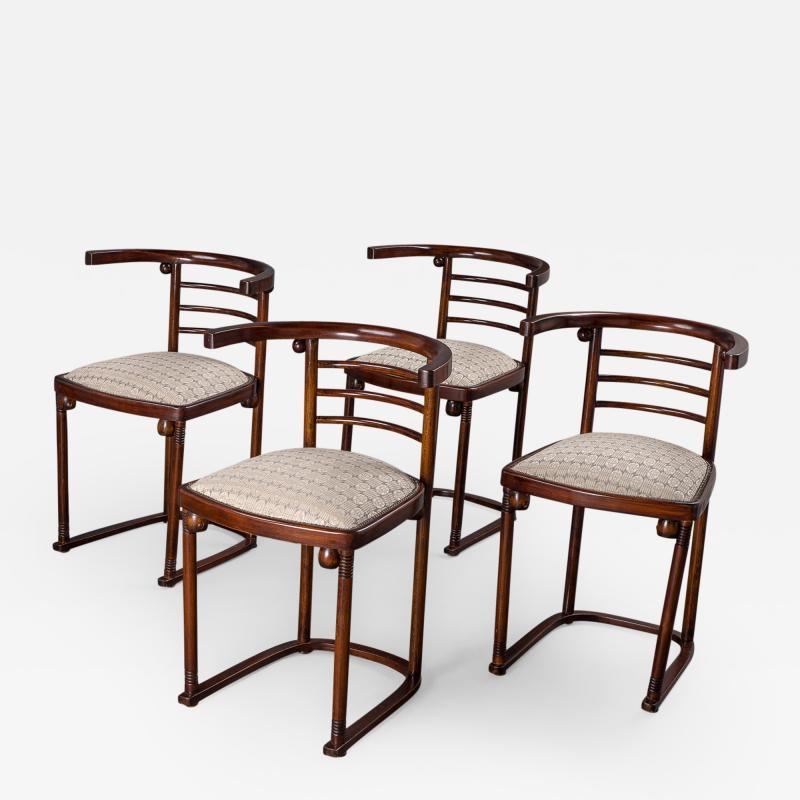 Joseph Hoffman Johnson A Set of Four Joseph Hoffmann Die Fledermaus Chairs by Mundus