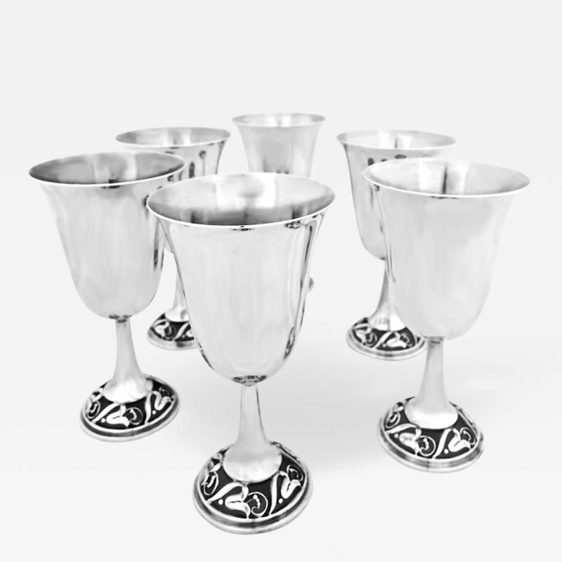 Joseph La Paglia 6 Sterling Water Goblets by La Paglia