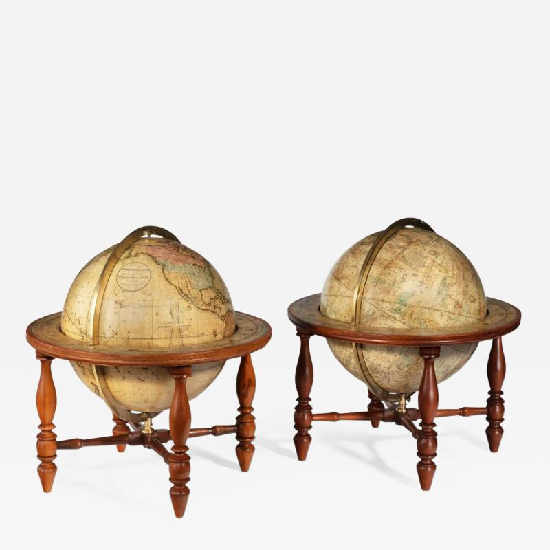 Josiah Loring A pair of 12 inch table globes by Josiah Loring dated 1844 and 1841