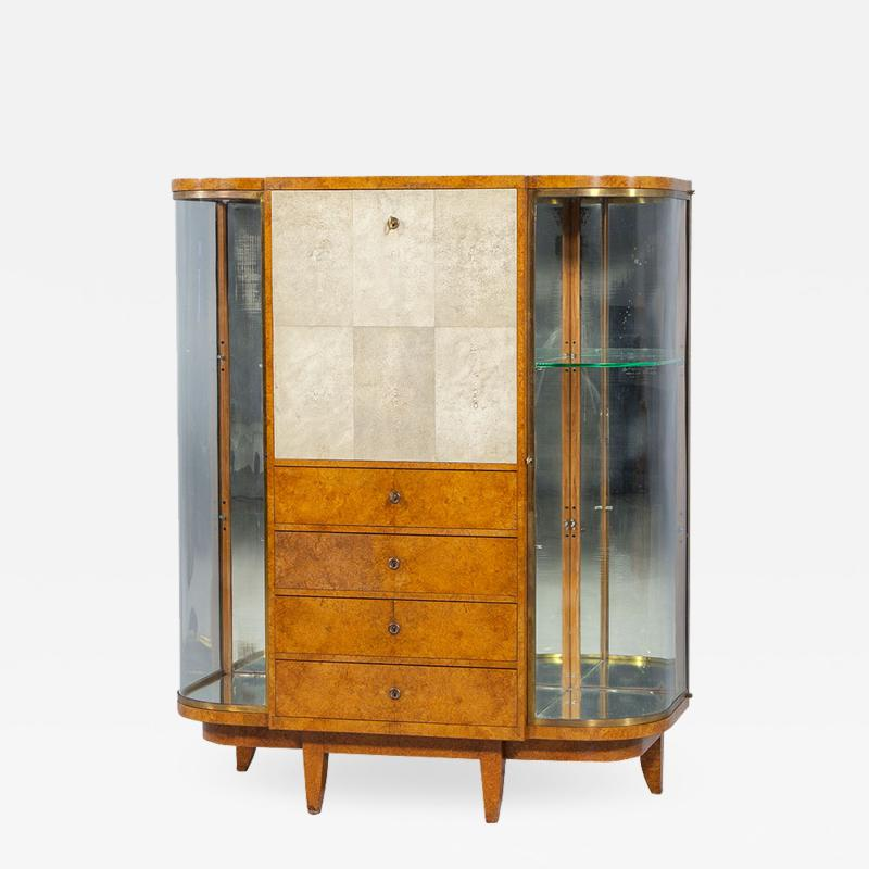 Jules Deroubaix Art Deco Burl Sandalwood Wood and Shagreen Secretaire Cabinet by Jules Deroubaix