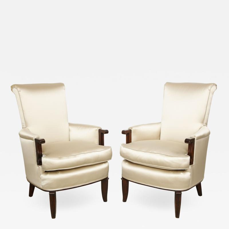 Jules Leleu A Pair of Art Deco Mahogany Chairs by Jules Leleu